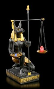 Ägyptische Figur - Anubis mit Waage - Fantasy Ägypten Gottheit Statue Herz Feder