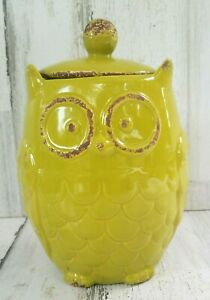 """Cute Hobby Lobby Yellowish Green  Rustic, OWL Canister Cookie Jar with lid 8.5"""""""