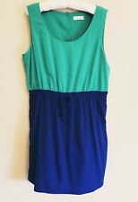 Calvin Klein Dress 14 Green Blue Sleeveless Knee Length Elastic Waist Career New