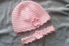 süße BABY Mütze +Stirnband Set Gr. 40 cm, ROSA, 100 %WOLLE, SEHR SOFT