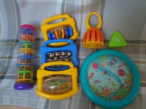 Halilit Musical Instrument Bundle rainmaker wave drum cage bell click clack