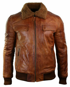 Mens Motorcycle Tan Brown Bomber Winter Removable Fur Collar Leather Jacket