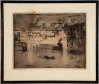 VINTAGE MILAN V. PETROVIC SIGNED ETCHING PONTE VECCHIO FLORENCE ITALY