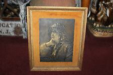Vintage Engraving On Wood Material-Religious Woman-Head Scarf-Christianity