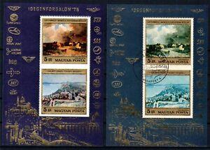 HUNGARY 1976 ☀ AIRMAIL / TOURISM Mi.3106/07 ☀ MNH & used block 117 ☀ shades