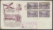 1949 #283 Halifax Bicentenary FDC, Block, Fulton Cachet, Registered