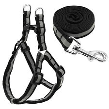 "12-18""Black Reflective Nylon Small Dog Harness and Leads Leash Set for Chihuahua"