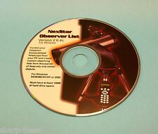 NexStar Observer List Software Program ~ From Celeston ~ Use With Telescope