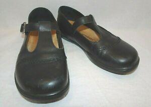 Footprints BIRKENSTOCK Black Mary Jane Leather Shoes T-Strap Size 37 EU 6 US