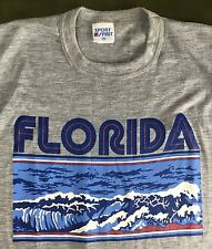 Vintage Mens M 80s Florida Beach Surf Waves Graphic Gray NOS/Deadstock T-Shirt
