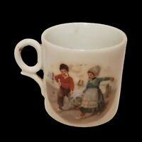 Antique Bavaria Porcelain Children's Mug Cup Children Color Scenes Germany Mini