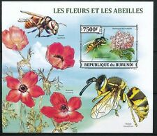 German yellowjacket, Insect, BURUNDI 2013 MNH Imperf SS, Flowers
