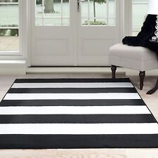 Lavish Home Striped Area Rug Black and White 4 x 6 Feet Carpet