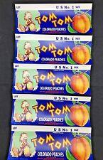 Tom Tom Delta Colorado Peaches Original Crate Label Lot of 5 (M6)
