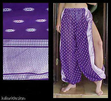 Harem Pants Belly Dance Sari Chiffon Purple w/ Silver Slit