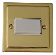G&H TB69W Trimline Polished Brass 1 Gang Triple Pole 10A Fan Isolator Switch