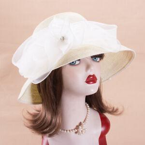 Womens Floral Straw Kentucky Derby Church Party Wide Brim Hat X771