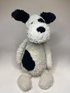 """Jellycat Bashful Puppy Dog Plush Black Cream Spot Large Stuffed Toy Soft 15"""""""