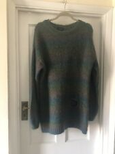 Top Shop Green & Mauve Mohair Striped Vintage Look Stitched Hole Jumper,14
