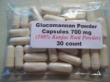 Glucomannan Powder Capsules (Konjac Root Powder) 700mg.  30 count