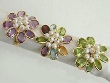 Ring Gold 750 Goldring - Edelsteinring - Damenring multicolor - Perlenring 18 kt