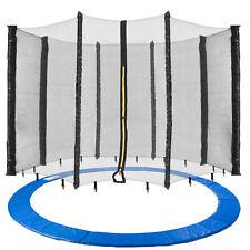 Arebos 366cm Housse de Protection des Bords Bleue et Filet de Sécurité 8 Tiges pour Trampoline