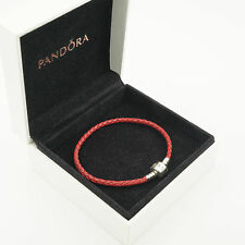20.5cm (S3) Red Genuine Pandora Moments Single Woven Leather Bracelet (S925 ALE)