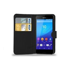 Black Carbon Sony Xperia M4 Aqua - Leather Wallet Case Cover + Screen Protector!