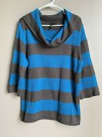 New Directions Womens Pullover Cowl Neck Sweater XL Size 3/4 Sleeve Striped Blue