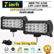 "2x 7Inch 252W Philips LED Work Light Bar Flood Offroad ATV Driving Lamp Truck 9"""