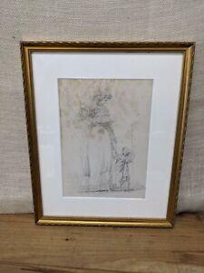 """Original Antique 1846 Charles Etienne Leguay Sketch """"Femme Et Enfant"""" Paris"""