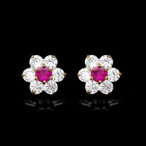 2.00ct Created Diamond & Red Ruby Cluster 14K Yellow Gold Earrings Screwback