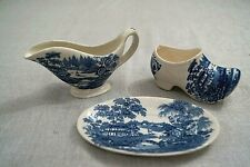 Clarice Cliff Blue Tonquin Shoe Oval Plate Gravy boat Royal Staffordshire
