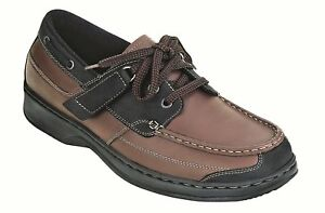 ORTHOFEET MEN'S Baton Rouge Orthopedic Tie-Less BROWN-BLACK No Insoles Size 7 W