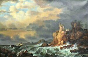 Tableau ancien huile sur toile marine bord de mer agitée pêcheurs signé XIXème