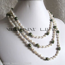 "55"" 5-6mm White Olive Baroque Freshwater Pearl Necklace Pearl Strand Z HD"