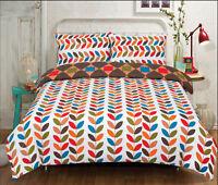 All Seasons Multi Colour Leaves Bedding Single Double King Duvet Quilt Cover Set