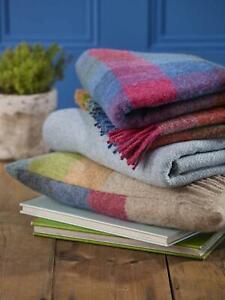 Bronte 100% Wool Harlequin Blanket Throw Blackcurrant, Sunshine or Tutti Frutti