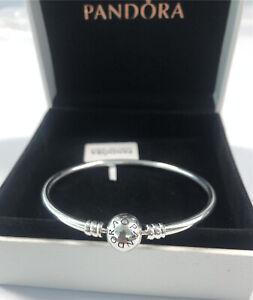 ALE S925 Genuine Silver Pandora Moments Bangle With Box and Polishing Cloth