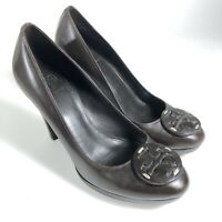 Tory Burch Womens 8M BETTY Dark Brown Leather Logo Pumps Stacked Heels Shoes