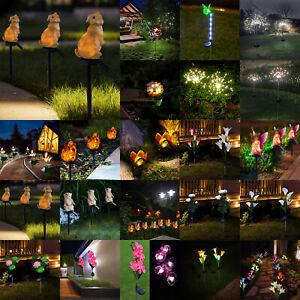 LED Solar Rose Butterfly Light Waterproof Outdoor Garden Landscape Path Way Lamp