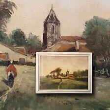 Agricole Paysage en Pologne Prusse-orientale. Orig. ancien Peinture à l'huile