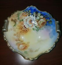 Beautiful Hand Painted Floral Nippon Footed/2 Handle Gold Plated Bowl Dish