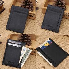 Black Men's Leather Money Clip Slim Thin Pocket Wallet ID Credit Card Holders