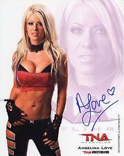 TNA SIGNED PHOTO ANGELINA LOVE P-14 WRESTLING PROMO COA & PROOF PICTURE WWE WWF