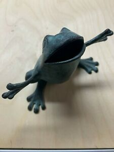 Standing Frog in patinaed bronze. Outdoor approved.