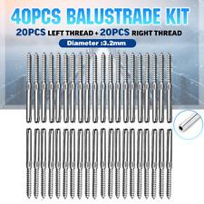 Stainless Steel DIY Rope Balustrade Kit 3.2mm Swage 2 x Lag Screw Term - 20 pack