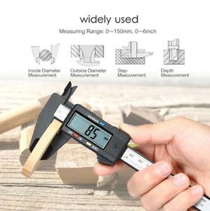 "6"" 150mm Carbon Fiber Electronic Digital Vernier Caliper Micrometer Guage LCD US"