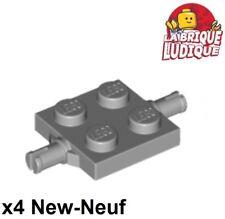 Lego - 4x Plate Modified 2x2 fixation roue wheel holder gris/l b gray 4600 NEUF