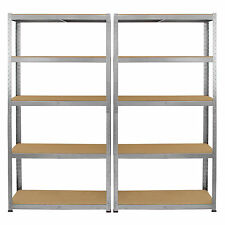 2 x Galvanised Steel Shelving Heavy Duty Metal Storage Garage Shelf 5 Tier Bays